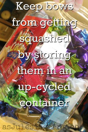 Keep bows  from getting squashed  by storing  them in an  up-cycled  container