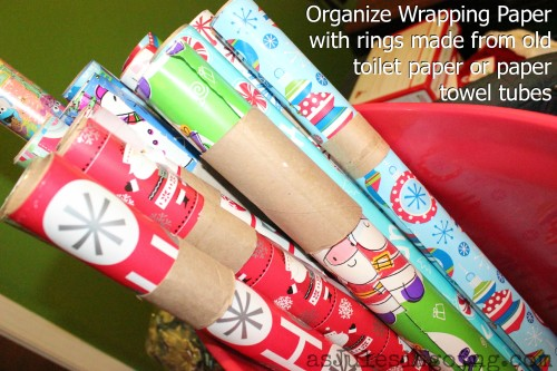 Organize Wrapping Paper with rings made from old toilet paper or paper towel tubes