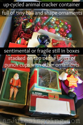 old animal cracker container full of tiny ball and shape ornamentssuper sentimental or fragile in original boxes