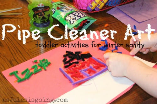 pipe cleaner art toddler activities for winter sanity