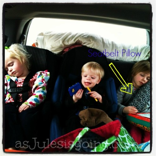 Seatbelt Pillow for Preschoolers in boaster seats