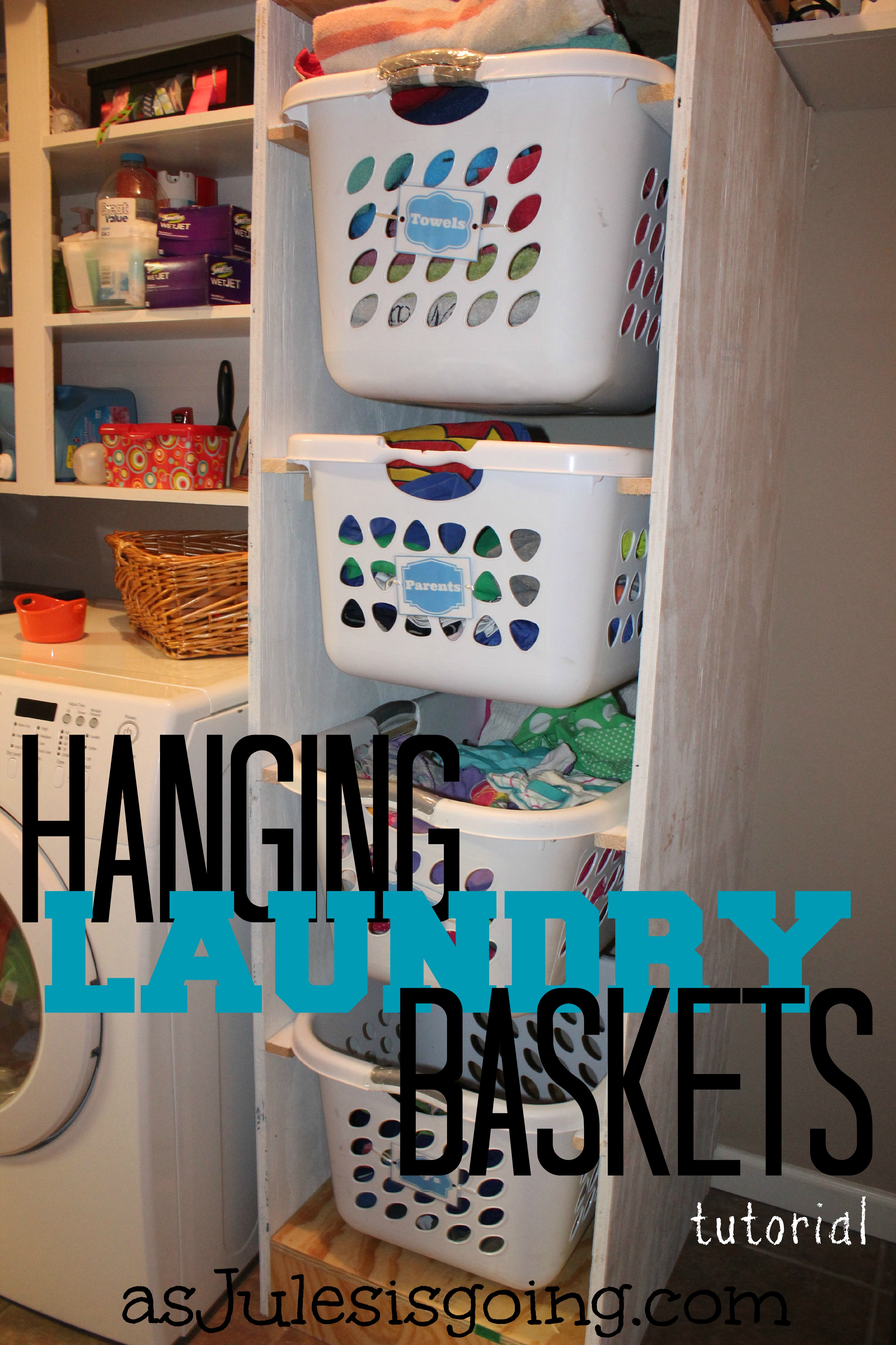 Hanging Laundry Baskets tutorial