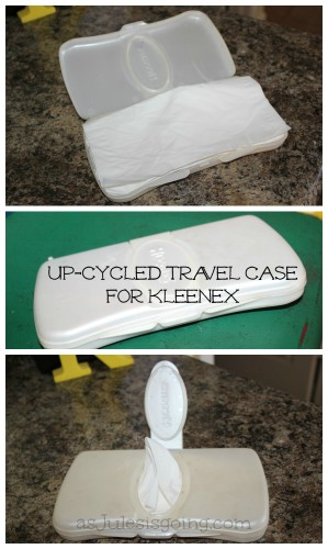 Travel Case of Kleenex made from an Up-Cycled Wipe Container