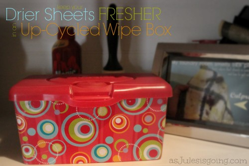 keep your drier sheets fresher in an up-cycled wipe box AND its cuter
