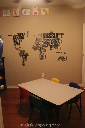 World Map in School Room