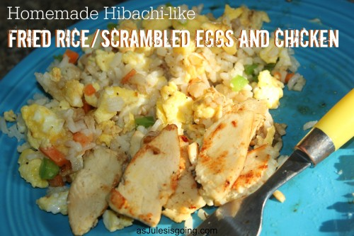 Homemade Hibachi-like Fried RiceScrambled Eggs and Chicken