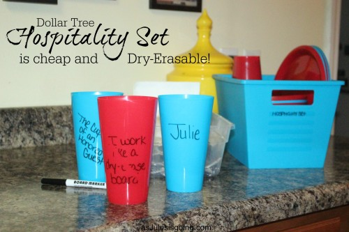 Using the Dollar Tree to create your own Hospitality Set is cheap and Dry-Erasable