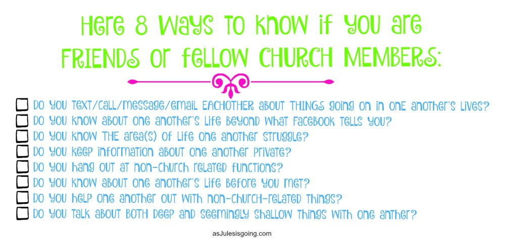 Friend or Church Member Check List