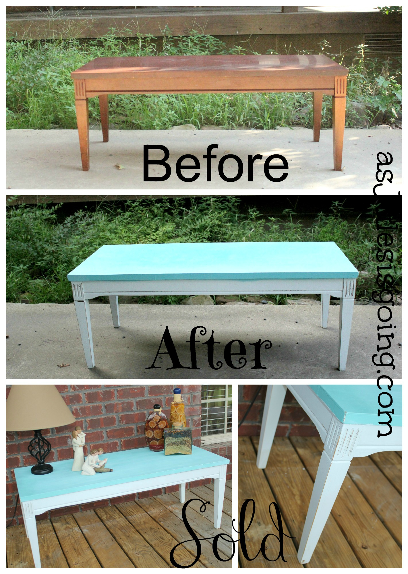 Coffee Table Blue White Before After And Sold